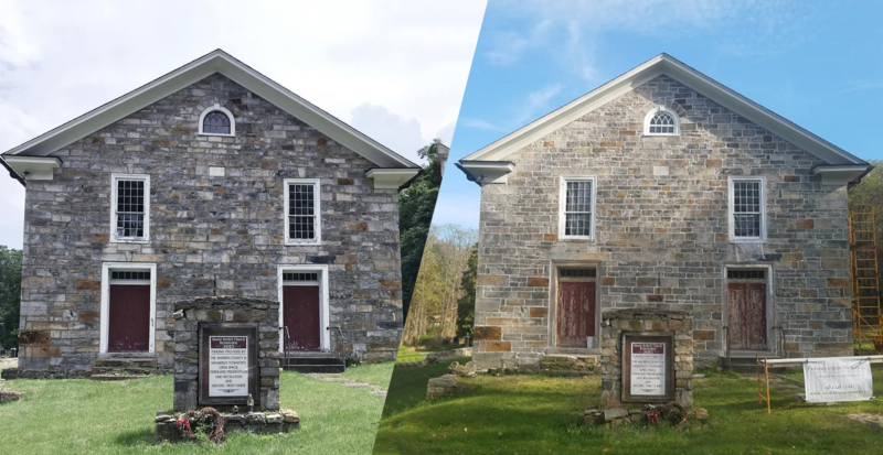 Preservation Works Mount Mt. Bethel Church NJ repair, repoint and rebuild historic stone structure using natural hydraulic lime NHL mortar stucco plaster chimney front and side facade wall