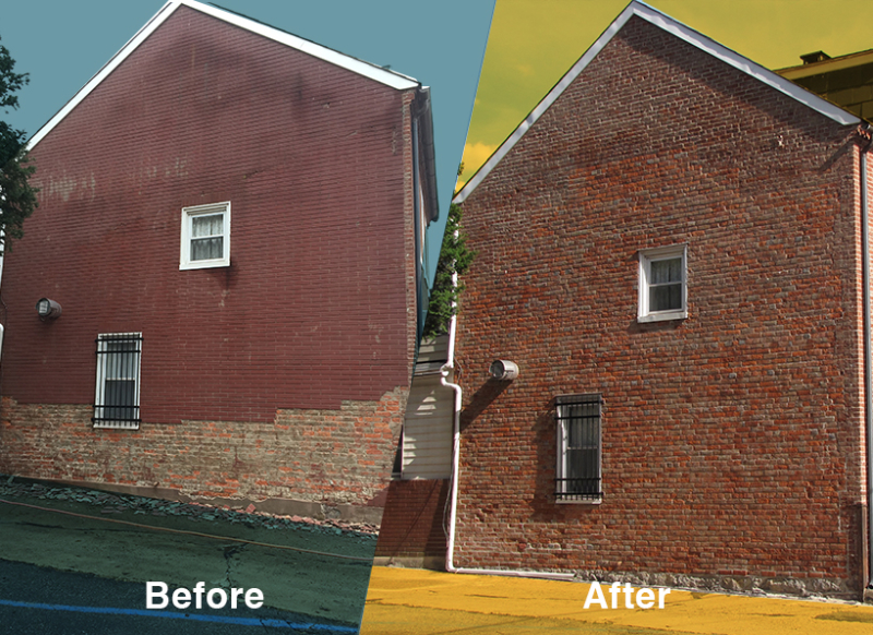 Before and after brick coat removal and repointing done on Easton's oldest brick building using historically appropriate natural hydraulic lime NHL mortar