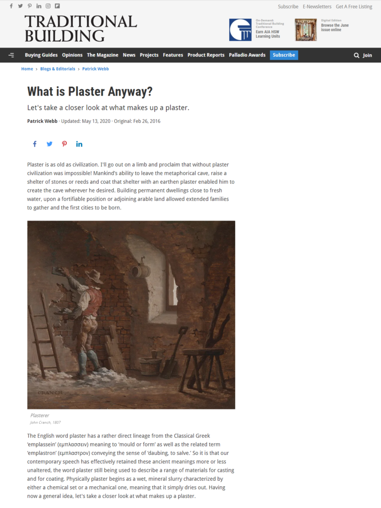 Traditional Building: What is Plaster Anyway?